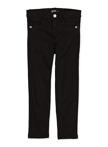 Girls 4-6x Stretch Black Twill Pants,BLACK,large
