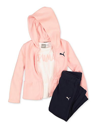 Girls 4-6x Puma Tee with Sweatpants and Sweatshirt Set,PINK,large