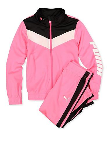 Girls 4-6x Puma Track Jacket and Pants Set,PINK,large