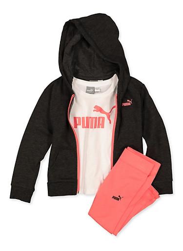Girls 4-6x Puma Tee with Zip Sweatshirt and Leggings Set,BLACK,large