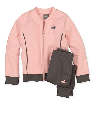 Girls 4-6x Puma Contrast Trim Track Jacket and Joggers Set,PINK,large