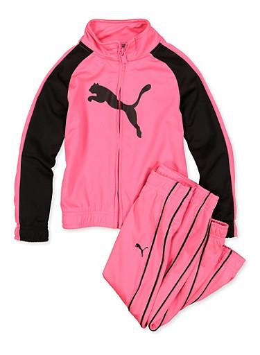 Girls 4-6x Puma Zip Up Track Jacket and Joggers Set,PINK,large