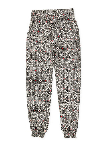 Girls 7-16 Printed Tie Front Joggers,RED,large