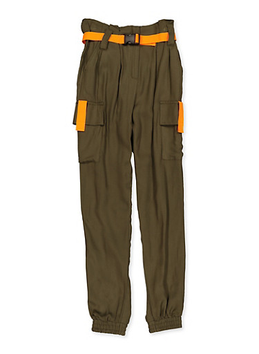 Girls 7-16 Contrast Trim Belted Cargo Joggers,OLIVE,large