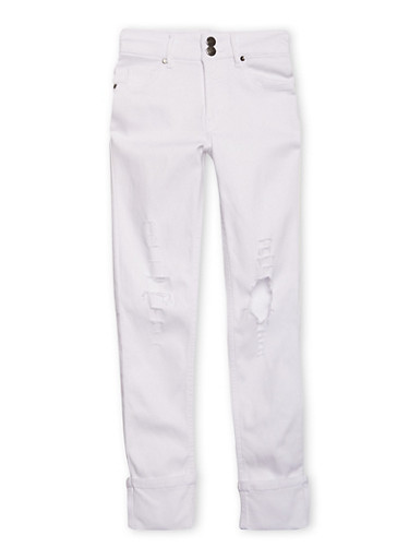 Girls 7-16 Distressed Hyperstretch Skinny Jeans with Cuffs,WHITE,large