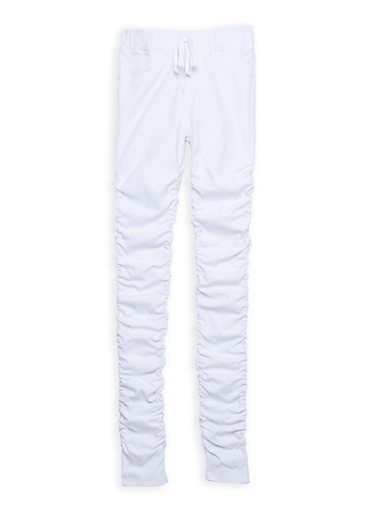Girls 7-16 Hyperstretch Ruched Leg Pants,WHITE,large