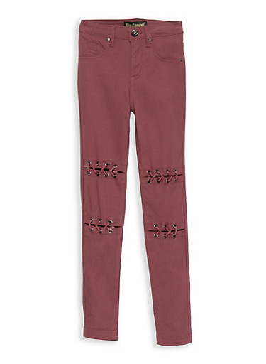 Girls 7-16 Lace Up Front Jeggings,RASPBERRY SORBET,large