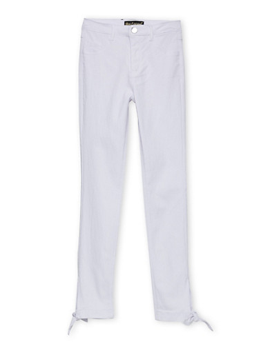 Girls 7-16 Tie Hem Jeggings,WHITE,large