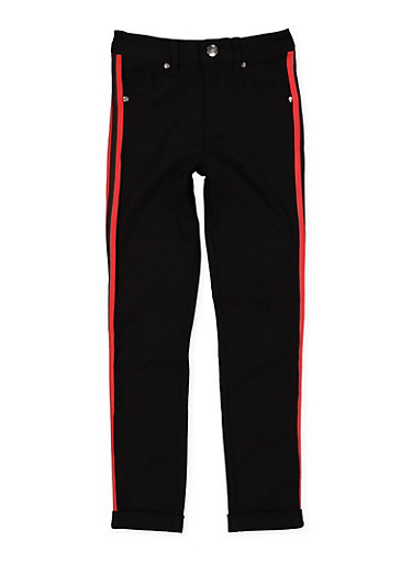 Girls 7-16 Varsity Stripe Tape Hyperstretch Pants,BLACK,large