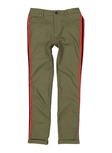 Girls 7-16 Striped Tape Trim Hyperstretch Pants,OLIVE,large