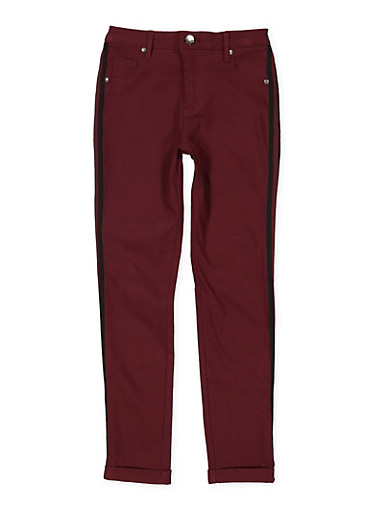 Girls 7-16 Striped Tape Trim Hyperstretch Pants,WINE,large
