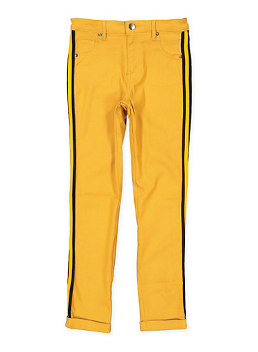 Girls 7-16 Striped Tape Trim Hyperstretch Pants,MUSTARD,large