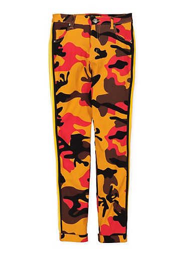 Girls 7-16 Camo Hyperstretch Pants,YELLOW,large