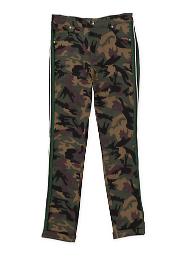 Girls 7-16 Camo Hyperstretch Pants,GREEN,large