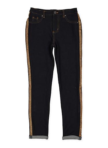 Girls 7-16 Shimmer Tape Denim Knit Jeggings,GOLD,large