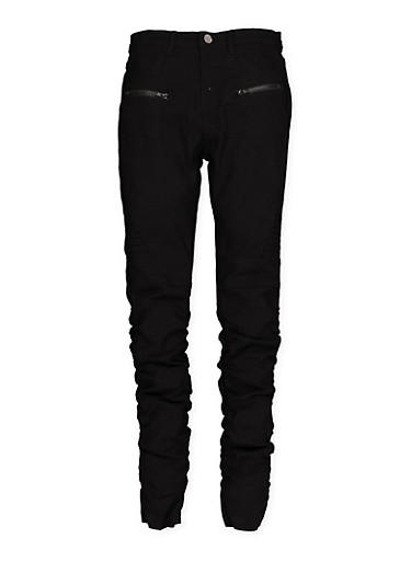 Girls 7-16 Hyperstretch Zip Pocket Moto Jeggings   Black,BLACK,large