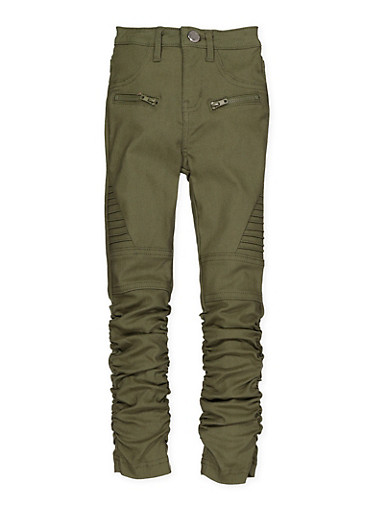 Girls 7-16 Ruched Hyperstretch Moto Jeggings | Olive Green,OLIVE,large