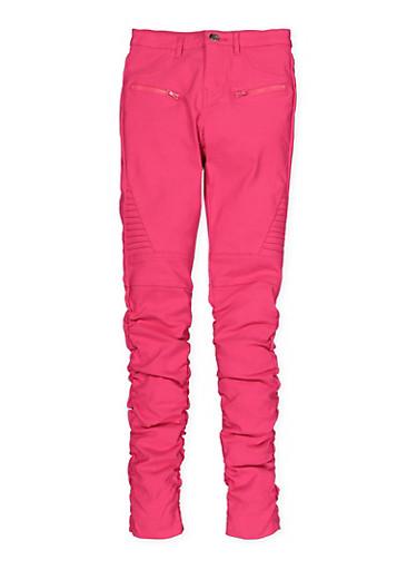 Girls 7-16 Ruched Hyperstretch Moto Jeggings | Fuchsia Pink,FUCHSIA,large
