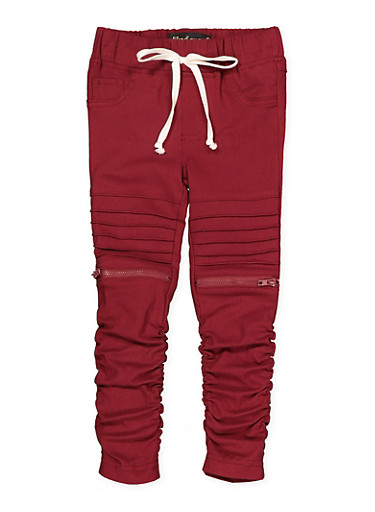 Girls 7-16 Ruched Hyperstretch Moto Jeggings | Burgundy,RED,large
