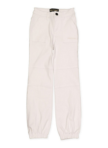 Girls 7-16 Hyperstretch Pork Chop Pocket Joggers | White,WHITE,large