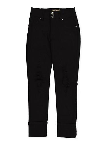 Girls 7-16 Distressed Hyperstretch Jeggings | Black,BLACK,large