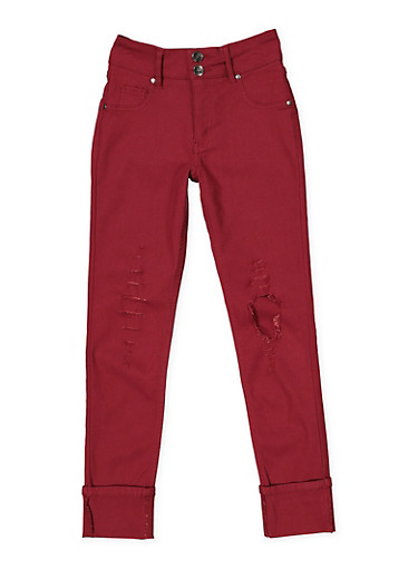 Girls 7-16 Distressed Hyperstretch Jeggings | Red,RED,large