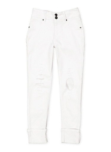 Girls 7-16 Distressed Hyperstretch Jeggings | White,WHITE,large