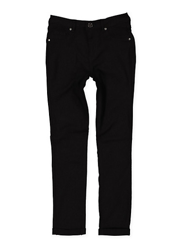 Girls 7-16 Cuffed Hyperstretch Pants,BLACK,large