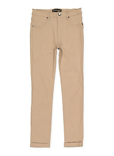 Girls 7-16 Solid Hyperstretch Pants,KHAKI,large