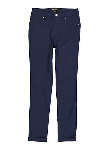 Girls 7-16 Cuffed Hyperstretch Pants,NAVY,large