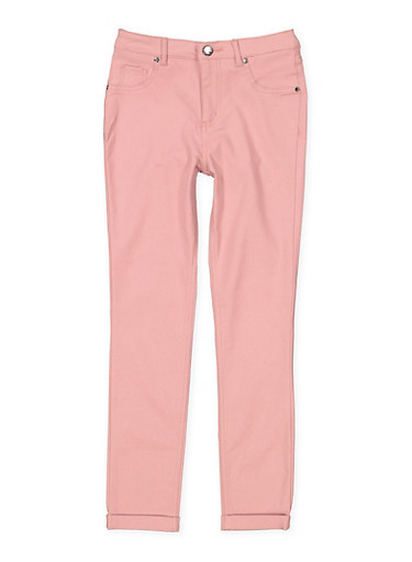 Girls 7-16 Cuffed Hyperstretch Pants,ROSE,large
