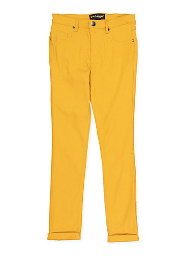 Girls 7-16 Cuffed Hyperstretch Pants,MUSTARD,large