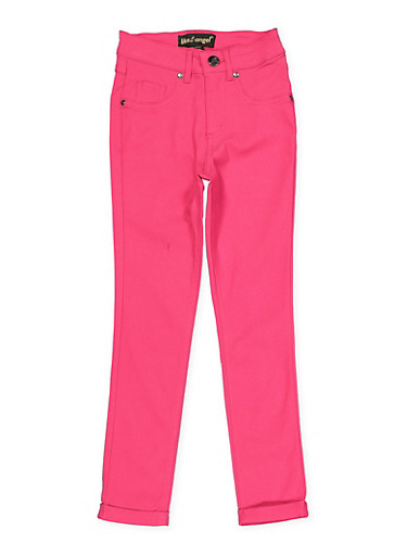 Girls 7-16 Hyperstretch Cuffed Skinny Pants,FUCHSIA,large