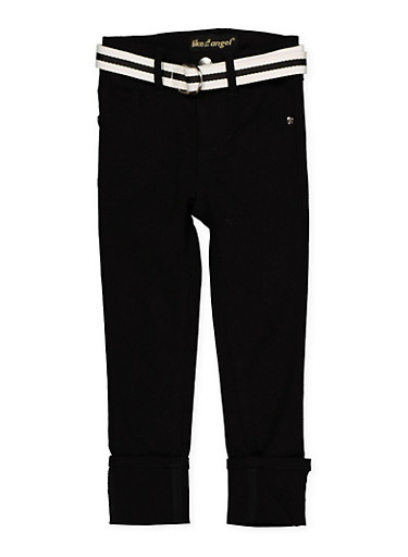 Girls 7-16 Belted Hyperstretch Pants | Black,BLACK,large