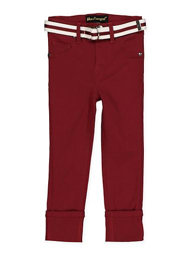 Girls 7-16 Belted Hyperstretch Pants | Wine,WINE,large