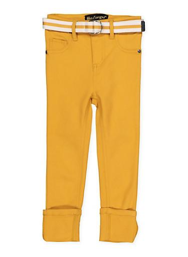 Girls 7-16 Belted Hyperstretch Pants | Mustard,MUSTARD,large