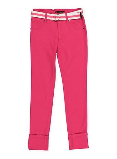Girls 7-16 Belted Hyperstretch Pants | Fuchsia,FUCHSIA,large