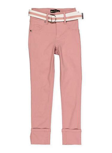 Girls 7-16 Belted Hyperstretch Pants | Rose,ROSE,large