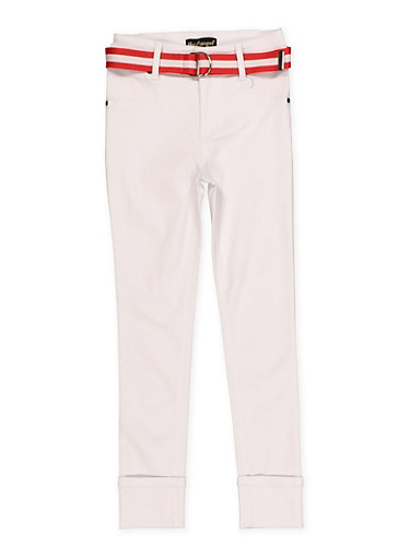 Girls 7-16 Belted Hyperstretch Pants | White,WHITE,large