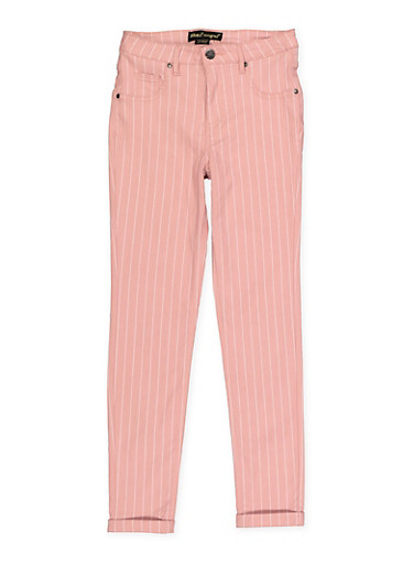 Girls 7-16 Striped Hyperstretch Pants,WHITE,large