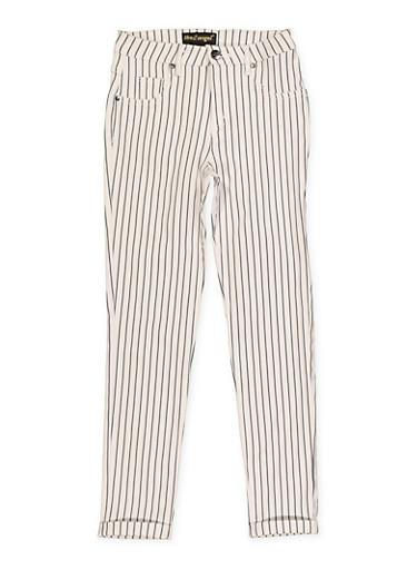 Girls 7-16 Striped Hyperstretch Pants,DENIM,large