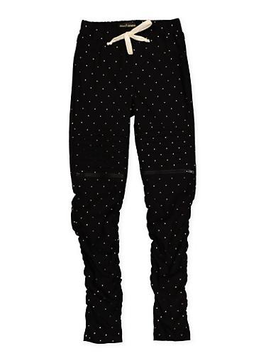 Girls 7-16 Polka Dot Hyperstretch Moto Jeggings | Black,BLACK,large