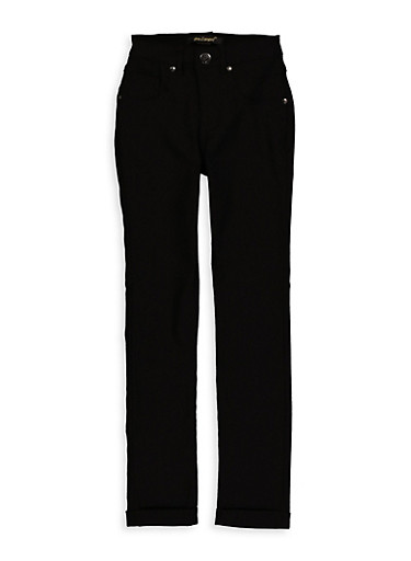 Girls 7-16 Solid Hyperstretch Pants,BLACK,large