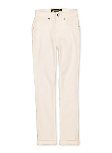 Girls 7-16 Solid Hyperstretch Pants,WHITE,large
