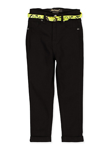 Girls 7-16 Fixed Cuff Belted Hyperstretch Pants,YELLOW,large