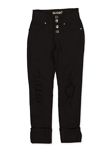 Girls 7-16 4 Button Hyperstretch Jeggings,BLACK,large