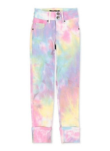 Girls 7-16 Tie Dye Fixed Cuff Hyperstretch Pants,MULTI COLOR,large