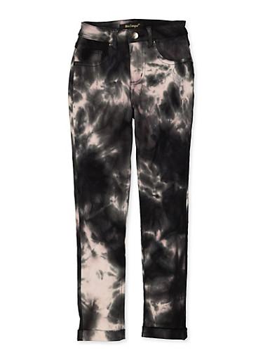 Girls 7-16 Tie Dye Hyperstretch Pants,BLACK/WHITE,large