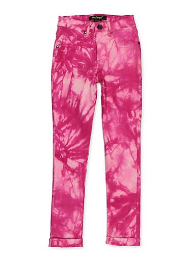 Girls 7-16 Tie Dye Hyperstretch Pants,NEON PINK,large