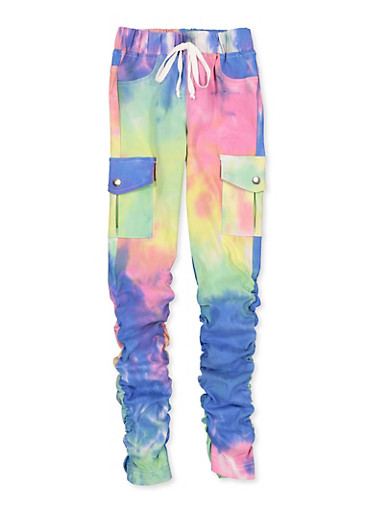 Girls 7-16 Hyperstretch Tie Dye Cargo Pants,WHITE,large